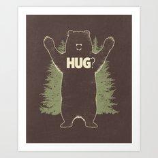 Bear Hug? (dark version) Art Print