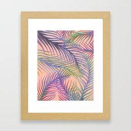 Palm Leaves Pattern - Purple, Peach, Blue Framed Art Print