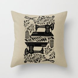 Folk Art / Sewing Memories / Black Throw Pillow
