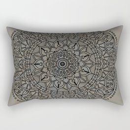 Circle of Life Mandala Brown and Blue Rectangular Pillow