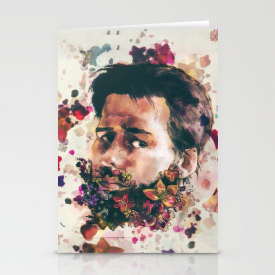 a beard of flowers Stationery Cards