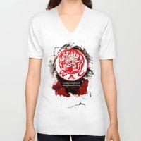 casablanca V-neck T-shirts featuring WAC Wydad Casablanca by Genco Demirer