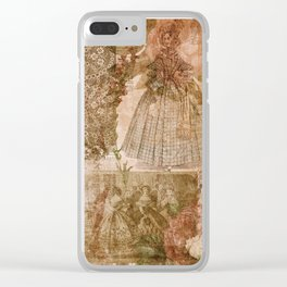 Vintage & Shabby Chic - Victorian ladies pattern Clear iPhone Case