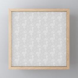 Flamingoes on Gray Framed Mini Art Print