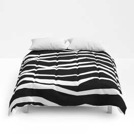 Wavy zig zag lines edgy black and white Comforters