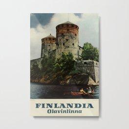 Finlandia Olavinlinna Vintage Travel Poster Metal Print