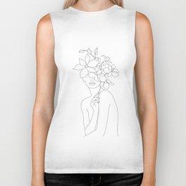 Minimal Line Art Woman with Orchids Biker Tank
