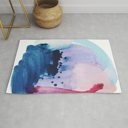 PYT: a minimal abstract mixed media piece on canvas in blues, pink, purple, and white Rug