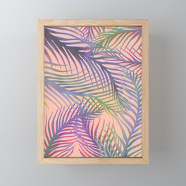 Palm Leaves Pattern - Purple, Peach, Blue Framed Mini Art Print