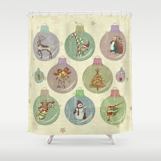 Retro Christmas Ornament Shower Curtain