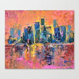 Pink Sky - abstract painting New York city skyline at sunset impressionism acrylic Canvas Print