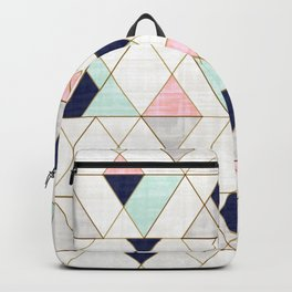 Mod Triangles - Navy Blush Mint Backpack