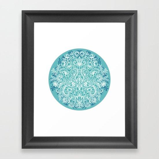Spring Arrangement - teal & white floral doodle Framed Art Print
