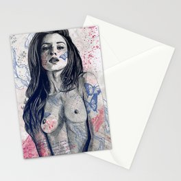 Nothing Violates This Nature: Blue (erotic drawing, nude butterfly girl) Stationery Cards