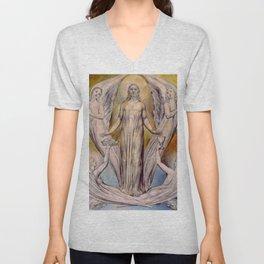 """William Blake """"Angels Ministering to Christ"""" Unisex V-Neck"""