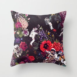 Flowers and Astronauts Throw Pillow