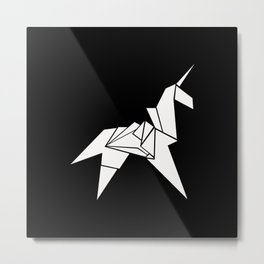 Unicorn Origami Metal Print