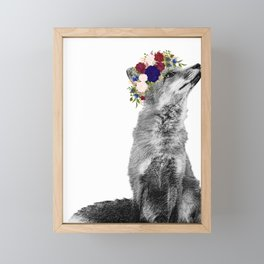 Black White Fox Navy Burgundy Flower Crown Framed Mini Art Print