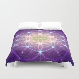 Purple Flower of Life Duvet Cover