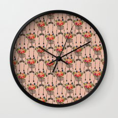 Skeleton and Flowers. Wall Clock
