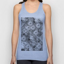 PARROTS MAGNOLIAS ROSES AND HYDRANGEAS TOILE PATTERN IN GRAY AND WHITE Unisex Tank Top