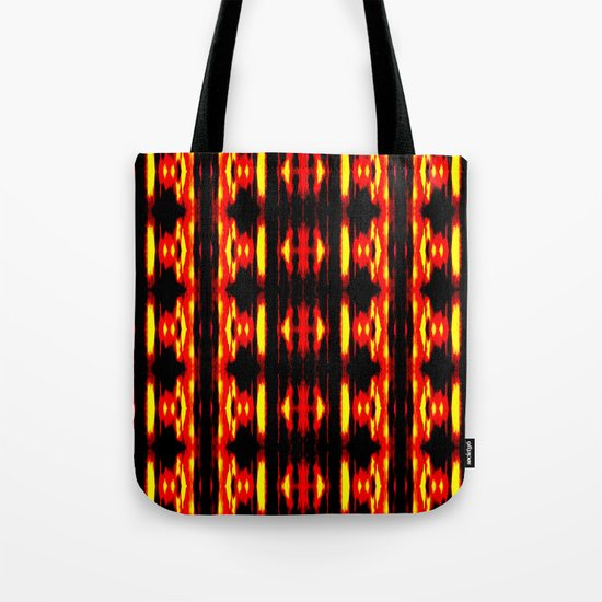 Orange Yellow Black Abstract Fire Pattern Tote Bag