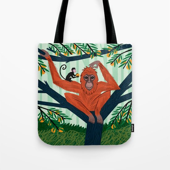 The Orangutan in The Orange Trees. Tote Bag