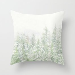 White Winter Forest with a Hint of Mint Throw Pillow