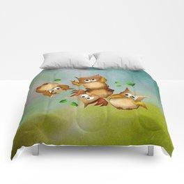 Owl crash Comforters