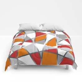 Geometric Shapes in Red, Orange and Gray Comforters