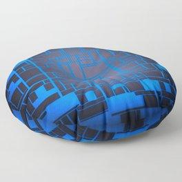 Mondrian Motherboard Blue Floor Pillow