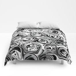 Onyx Black and White Paint Swirls Comforters