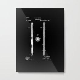 Baseball Bat Patent 1885 black and white Metal Print