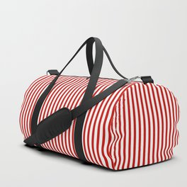 Red & White Maritime Vertical Small Stripes - Mix & Match with Simplicity of Life Duffle Bag
