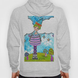 Funky Mixed Media Girl with Mushrooms, Clouds and Doodles in Dyan Reaveley Style with Bright Colors Hoody