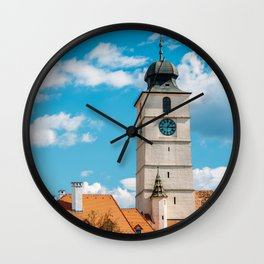 Medieval Houses Of Sibiu City In Romania, Urban Skyline, Architecture Photo, Travel Wall Art Print Wall Clock