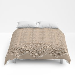 Lace and Stars in Coffee Color Chenille Pattern Comforters