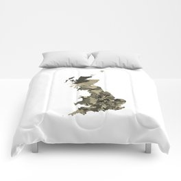Great Britain Map Print Abstract in Camouflage Desert - A great talking piece for the home! Comforters