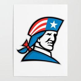 American Patriot Head USA Flag Mascot Poster