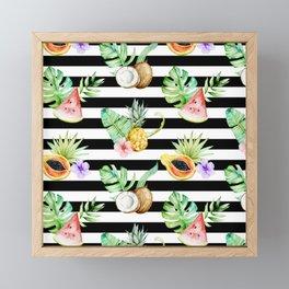 Tropical Fruits Black White Stripes Framed Mini Art Print