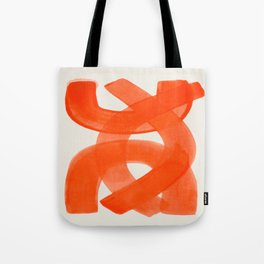 Mid Century Modern Abstract Painting Orange Watercolor Brush Strokes Tote Bag