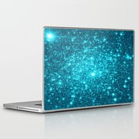 turquoise Laptop & iPad Skins featuring Turquoise Teal Sparkle Stars by WhimsyRomance&Fun