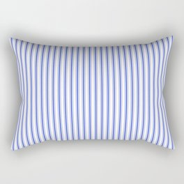 Small Vertical Cobalt Blue and White French Mattress Ticking Stripes Rectangular Pillow