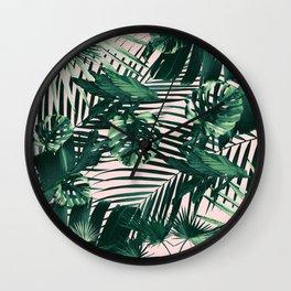 Tropical Jungle Leaves Siesta #3 #tropical #decor #art #society6 Wall Clock