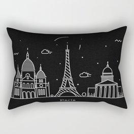 Paris Minimal Nightscape / Skyline Drawing Rectangular Pillow