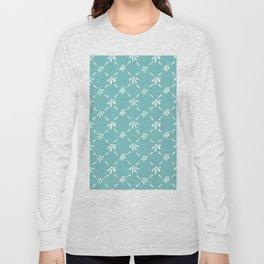 Floral Geometric Pattern Aqua Sky Long Sleeve T-shirt
