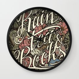 Rain, Tea & Books - Color version Wall Clock