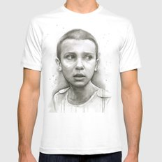 Stranger Things Eleven Portrait Upside Down MEDIUM White Mens Fitted Tee