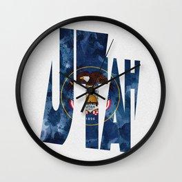 Utah Typographic Flag Map Art Wall Clock