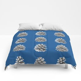 Monochrome Pine Cones Winter Blue Comforters